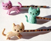 playful kittens hair pins : kawaii style cute kittens in glittery pink turquoise & orange sherbert perfect for the cat lady hair pins