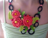 Crochet necklace...Knitted jewelry...Handmade accessory...Pink roses and colored wooden beads...