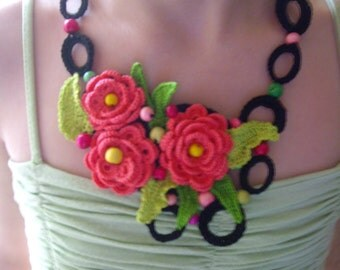 Crochet Necklace Handmade Beaded Accessory