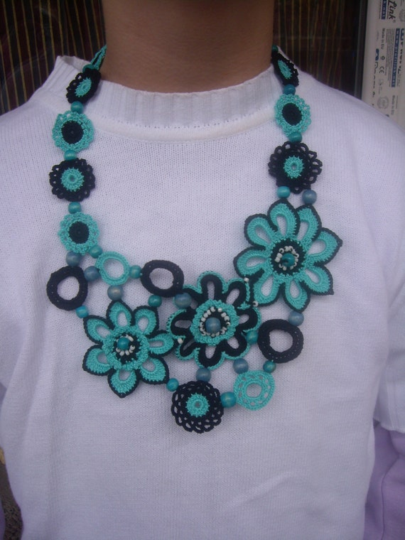 Crochet Necklace...Knitted Jewelry...Handmade Accessory...Blue flowers and wooden beads...