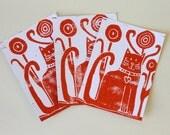 Set of 3 postcards - Cat - Original linoprints