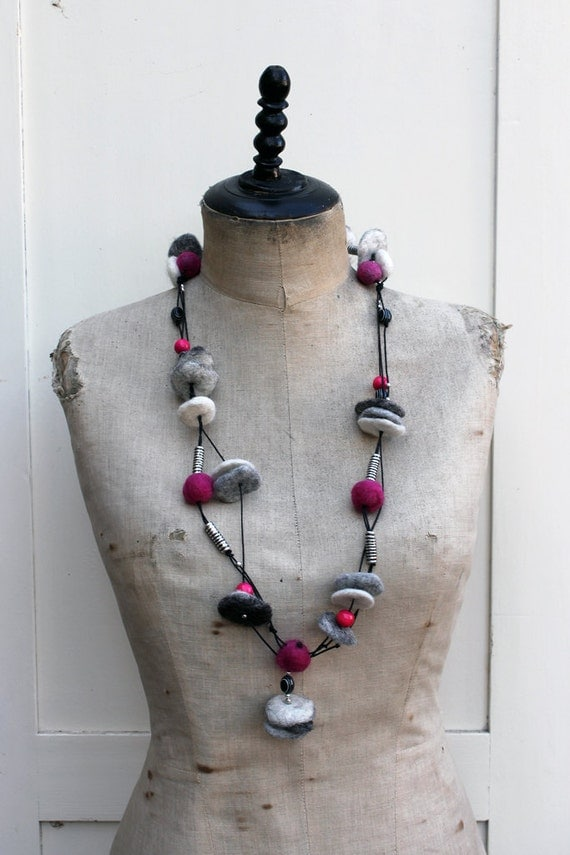 Necklace with felted beads
