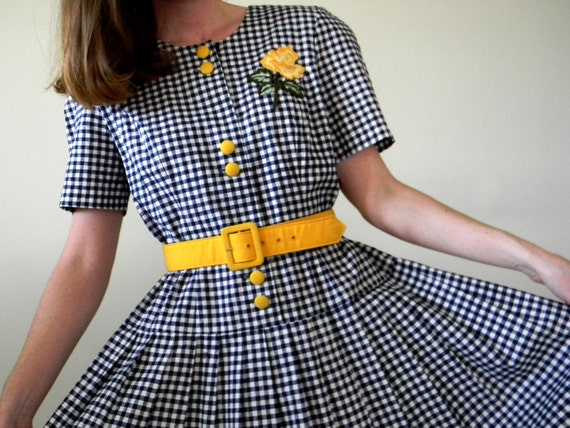 Vintage Gingham Dress Blue White Yellow Dress Yellow Rose Applique Patch Belted Dress