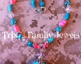 Chunky PInk and Turquoise Necklace