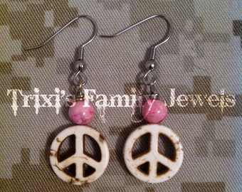 White Turquoise Peace Sign Earrings