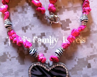 Pink Turquoise and Zebra Necklace