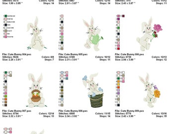 Digitized Machine Embroidery Designs - Cute Bunnies - Set of 10 - Instant Download