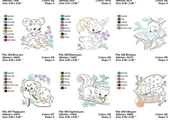 Machine Embroidery Digitized Vintage Designs - Baby Animal Quilt - Instant Download