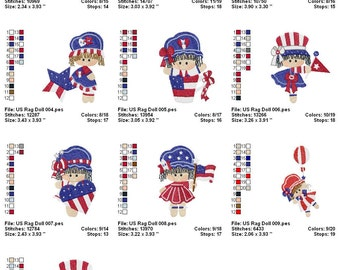 Digitized Machine Embroidery Designs -  U.S. Rag Dolls - Set of 10 - Instant Download