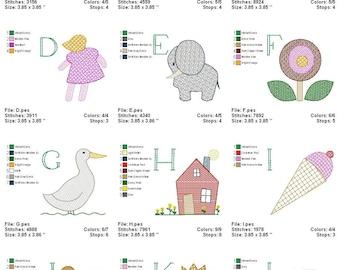 Digitized Machine Embroidery Designs -Motif Alphabet - Instant Download