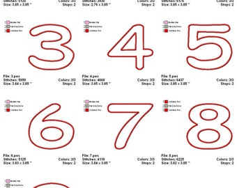 Digitized Machine Embroidery Designs - Applique Numbers - Instant Download