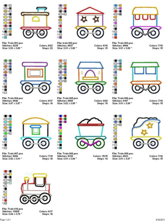 Digitized Machine Embroidery Designs - Applique Train - Set of 10 - Instant Download