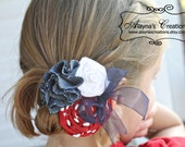 Patriotic Hair Bow with Fabric Rosettes in Red White and Blue