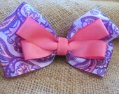 Purple and Pink Paisley Hairbow