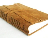 Large Suede Leather Journal, Light Brown Hand-Bound 6 x 9.5 Journal by The Orange Windmill on Etsy