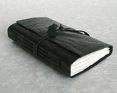 Recycled Leather Journal, Black, Hand-Bound 3 x 4.5 Journal by The Orange Windmill on Etsy