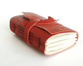 Leather Journal, Embossed Red, Hand-Bound 3 x 4.5 Journal by The Orange Windmill on Etsy