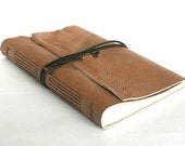 Large Leather Journal, Light Caramel, Hand-Bound 5.75 x 8.75 Journal by The Orange Windmill on Etsy