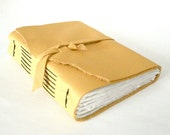 Leather Journal, Pale Yellow, Hand-Bound 4.5 x 6 Journal by The Orange Windmill on Etsy