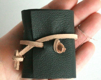 Mini Leather Journal, Blue Gray, Hand-Bound 1.75 x 2.5 Journal by The Orange Windmill