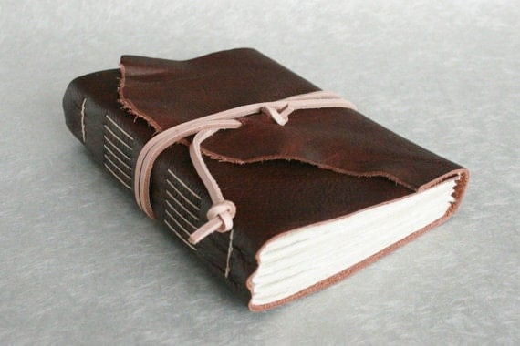 Leather Journal, Brown, Hand-Bound 4.5 x 6 Journal by The Orange Windmill on Etsy
