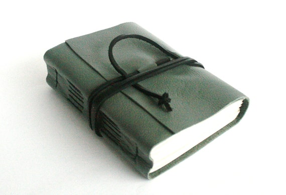 Leather Journal, Green Gray, Hand-Bound 4.5 x 6 Journal by The Orange Windmill on Etsy