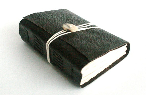 Chunky Leather Journal, Brown, Hand-Bound 4.5 x 6 Journal by The Orange Windmill on Etsy
