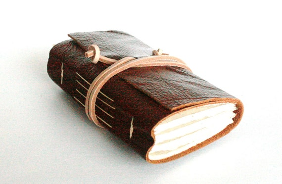 Leather Journal, Mahogany Brown, Hand-Bound 3.5 x 4 Journal by The Orange Windmill on Etsy
