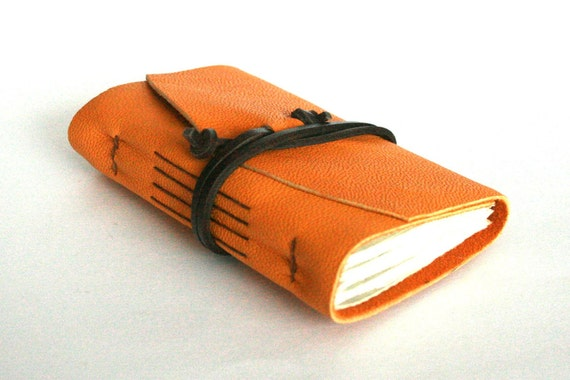 Leather Journal, Gold Yellow, Hand-Bound 3.5 x 4 Journal by The Orange Windmill on Etsy