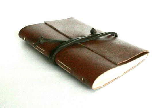 Slim Leather Journal, Dark Caramel Brown 4.5 x 6 Journal by The Orange Windmill on Etsy