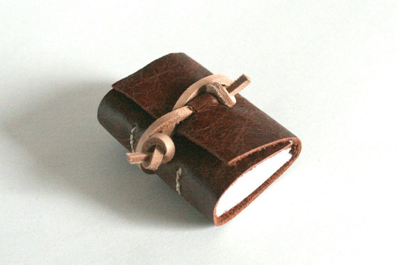 Mini Leather Journal, Chestnut Brown 1.75 x 2.25 Journal by The Orange Windmill