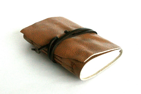 Leather Journal, Light Caramel, Hand-Bound 3 x 4.5 Leather by The Orange Windmill on Etsy