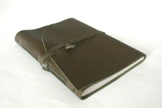 Large Leather Journal or Sketchbook, Olive Green, Hand-Bound 7 x 8.5 Journal by The Orange Windmill