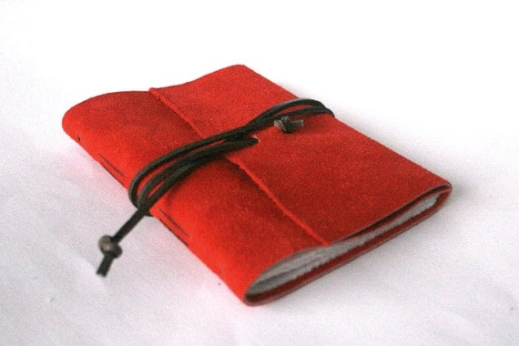 Slim Leather Journal, Red Suede 4.5 x 6 Journal by The Orange Windmill on Etsy