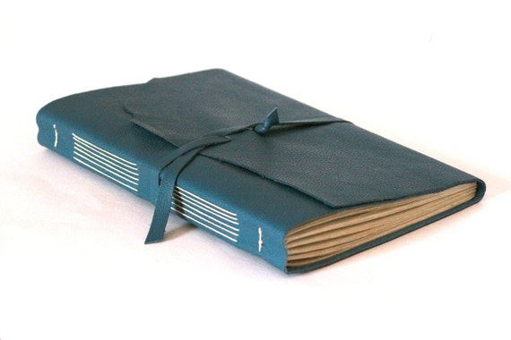 Large Leather Journal, Newark Blue, Hand-Bound 5.75 x 8.75 Journal by The Orange Windmill on Etsy