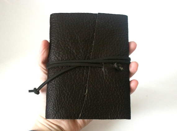 Slim Leather Journal, Dark Chocolate Brown, Hand-Bound 4.5 x 6 Journal by The Orange Windmill on Etsy