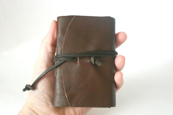 Leather Journal, Dark Cedar Brown, Hand-Bound 3.5 x 4 Journal by The Orange Windmill on Etsy