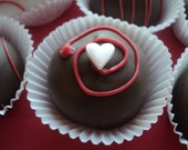 12 Valentines Day CAKE TRUFFLES - Choose 2 flavors from 85 different flavors - Only 15.50 including shipping - FREE Gift Note included