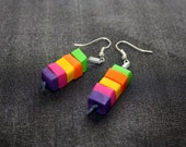 Colorful polymer clay dangle yearrings