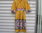 Vintage Yellow floral peasant style dress w square sleeves and huge sash floral buttons too ala 1970s