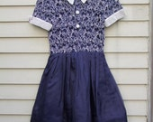 Navy lace piping, seed beeds hand sewn couture silk dress ala 1950s 1960s