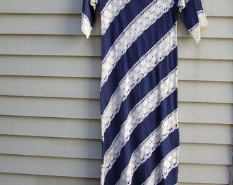 Vintage Navy and White Mexican lace and pin tuck long dress ala 1970s