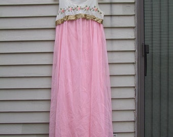 Vintage Couture nightgown with embroidered yoke and ribbon ala 1960s