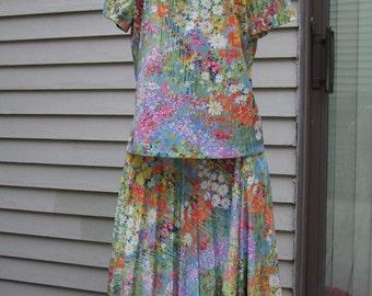 Vintage 2pc. Monet like theme floral blouse and skirt set ala 1970s