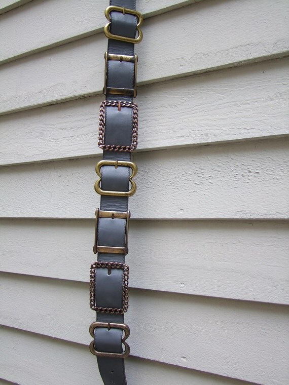 gray leather belt w loads of buckles ala 1970s 1980s Crisca West Germany