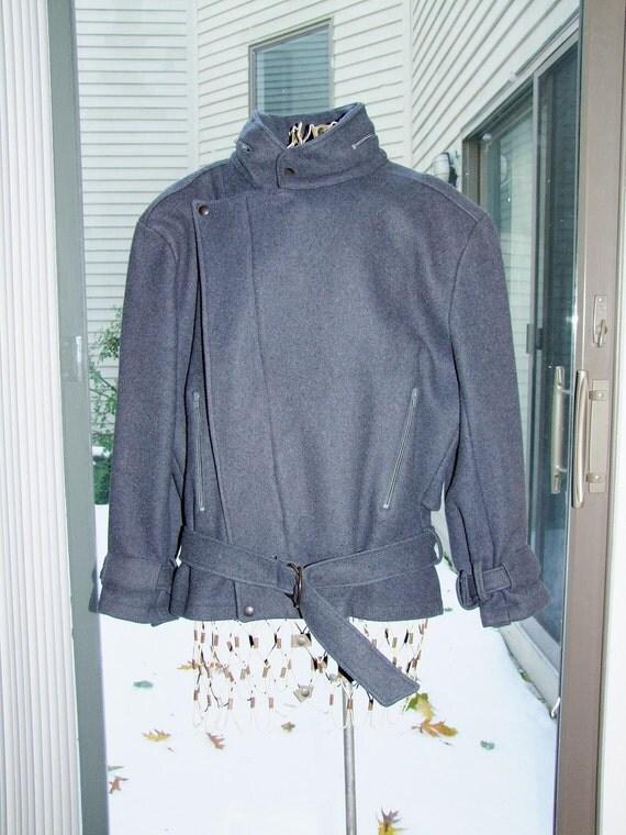 Vintage highly stylized Parachute brand grey wool jacket with belt ala 1970s 1980s Harry Parness
