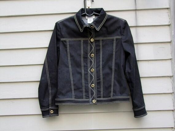 Vintage St. John Sport Marie Gray black denim and beige knit jacket ala 1980s
