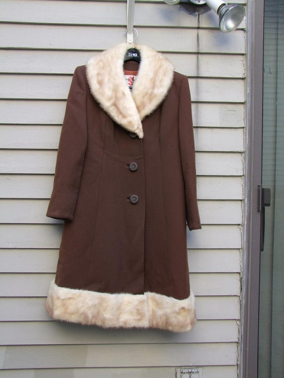 Vintage Chocolate brown coat with blonde Mink trim ala 1950s
