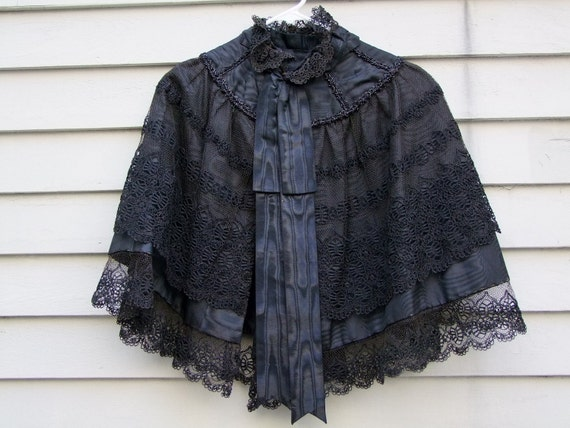 Vintage Museum quality Victorian black lace and water mark silk Cape ala 1880s-perfect Steampunk style