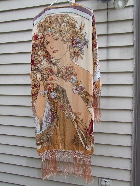 Retro Nouveau Alphonse Mucha style velvet fringe Kimono  jacket